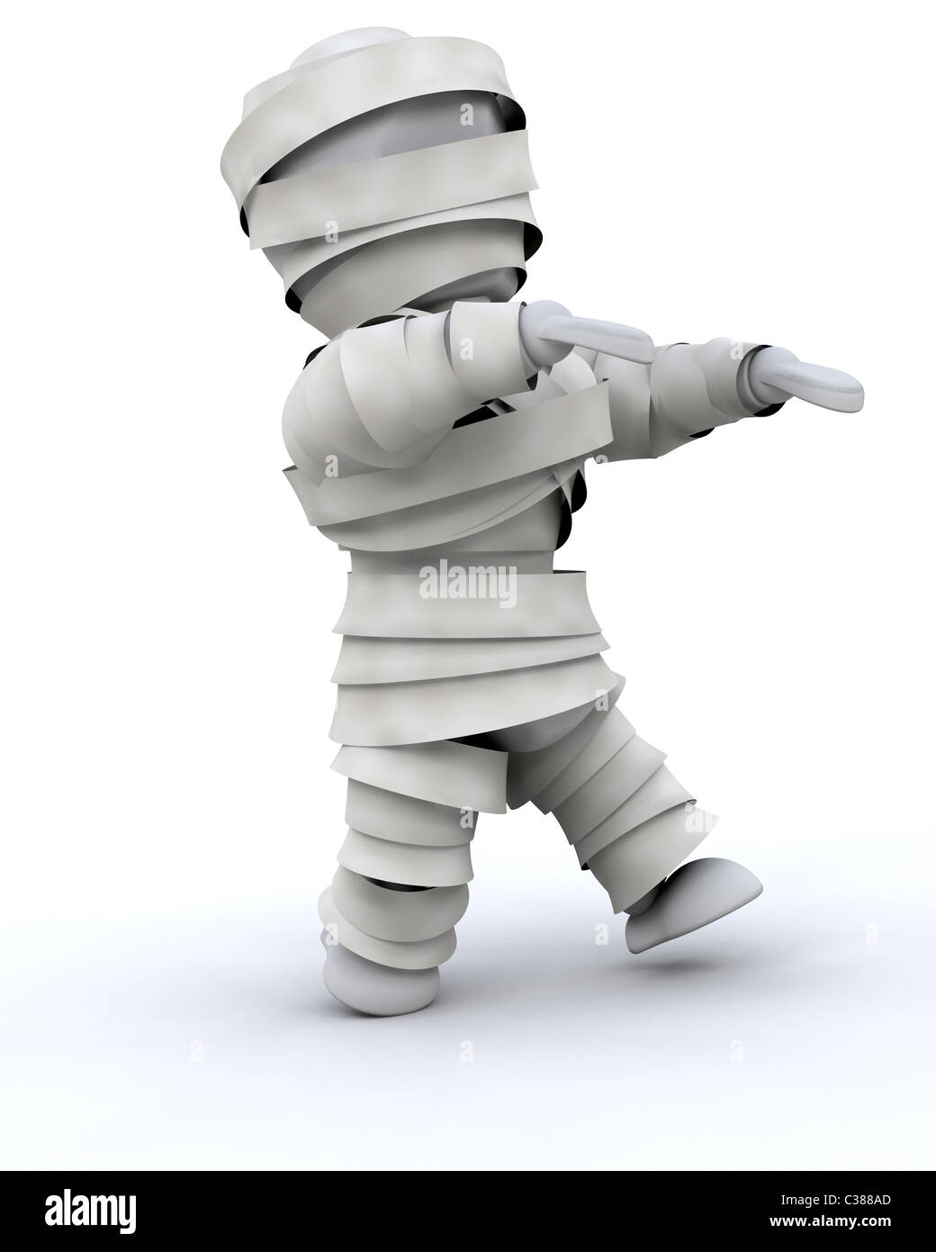 3d render of a man in halloween mummy costume - Stock Image