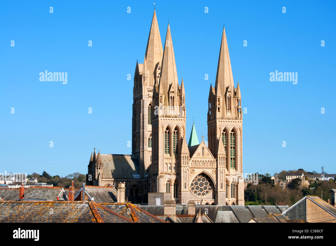 Truro Cathedral, Cornwall, UK - Stock Image