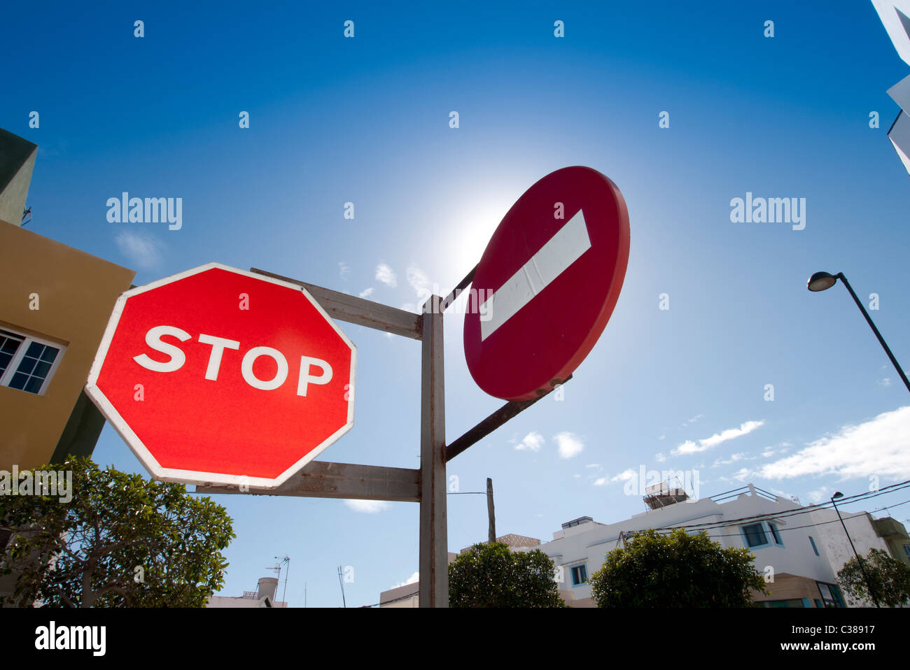 red stop & no entry road sign Fuerteventura Canary Islands - Stock Image