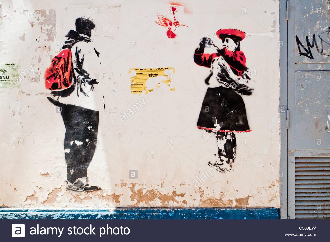 Graffiti in the tourist neighborhood of San Blas, Cusco. - Stock Image