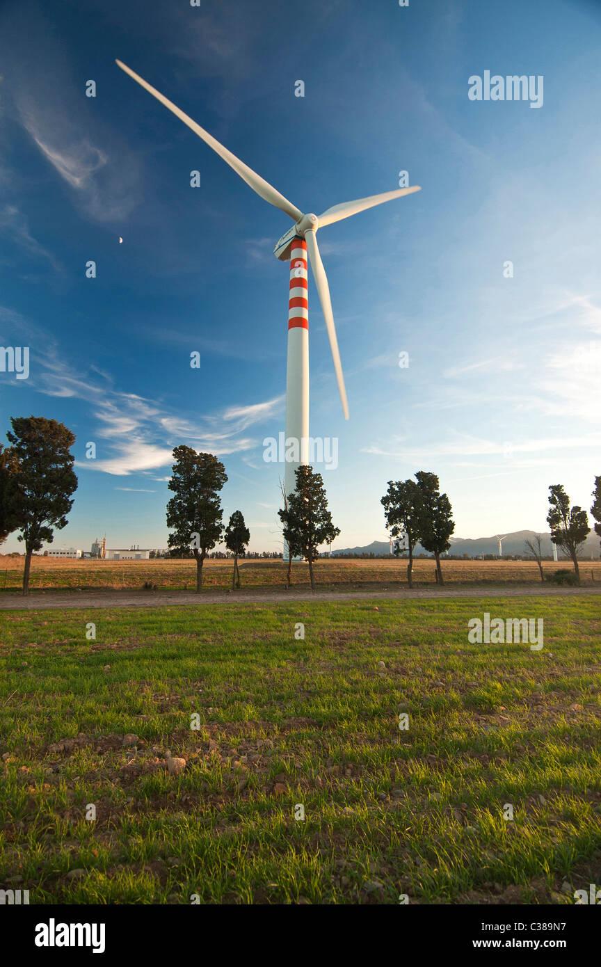 Wind Wheels, Capoterra, Cagliari Province, Sardinia, Italy Stock Photo