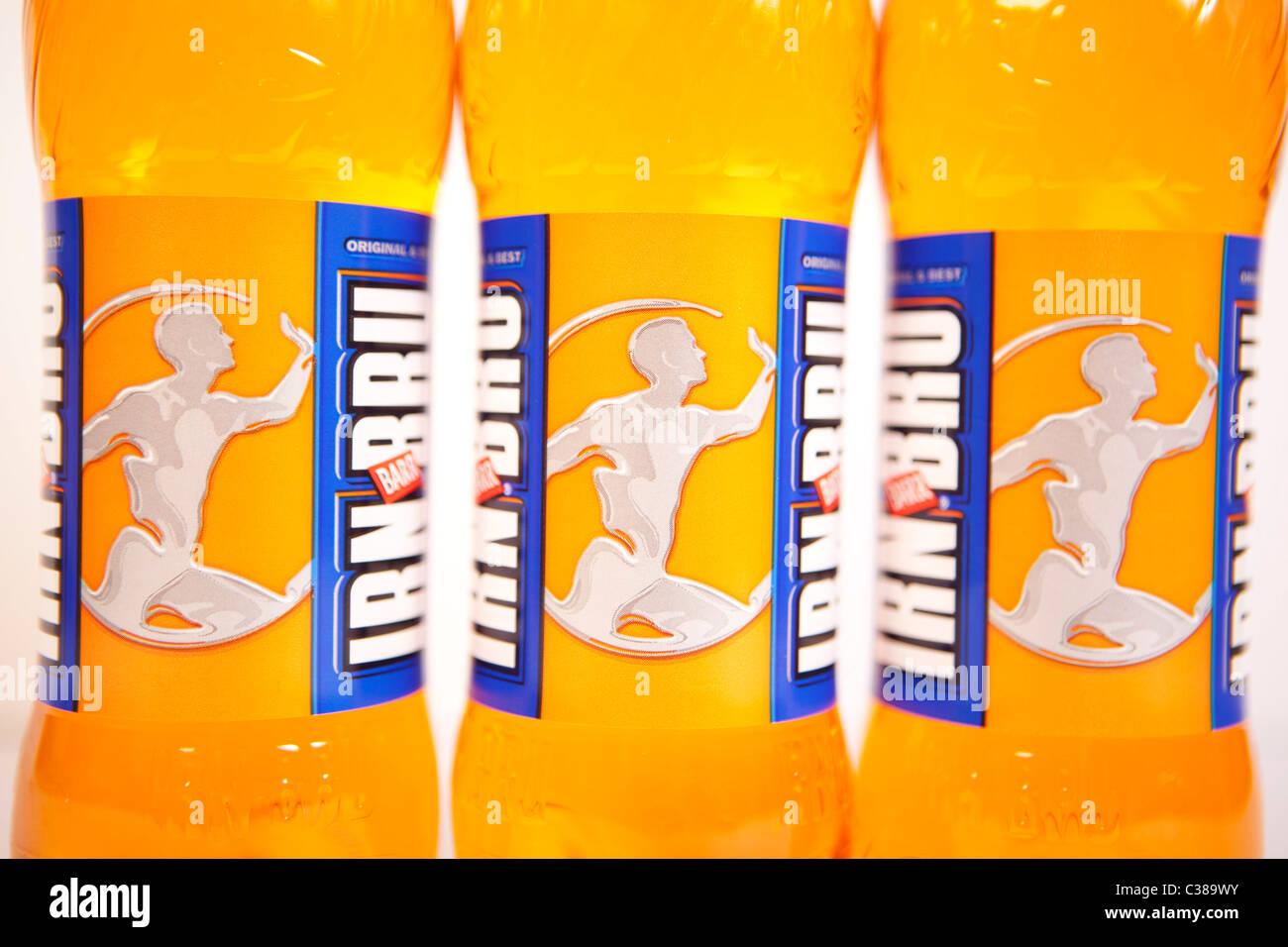 Illustrative image of Irn Bru bottles. - Stock Image