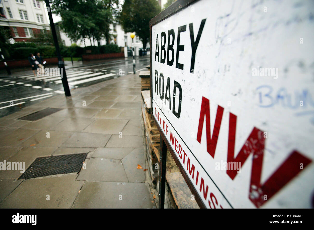 The famous pedestrian crossing outside Abbey Road Studios used by The Beatles on thier album Abbey Road, London. - Stock Image