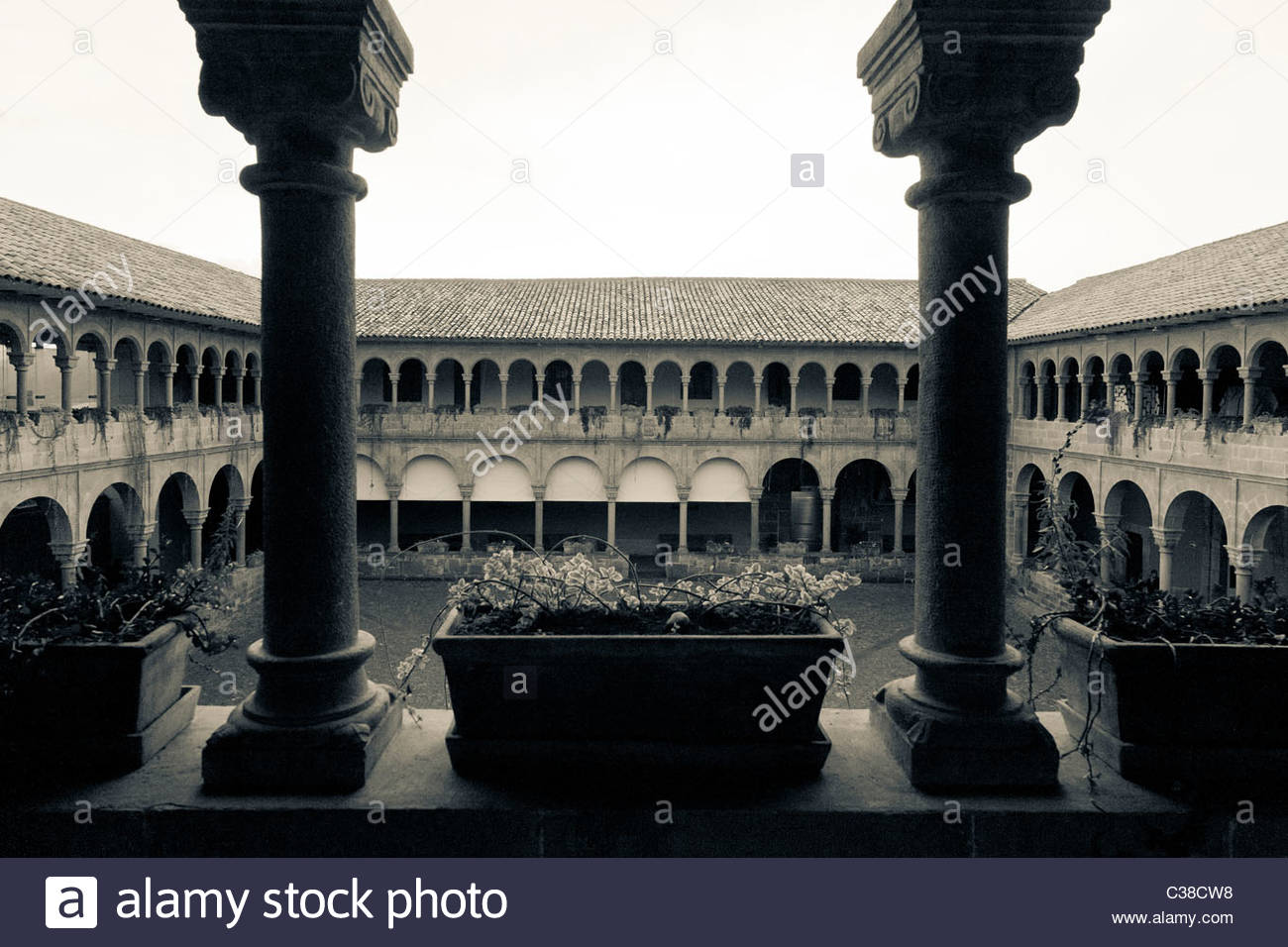 Courtyard of Church of Santo Domingo at Coricancha Temple site, Cuzco, Peru - Stock Image
