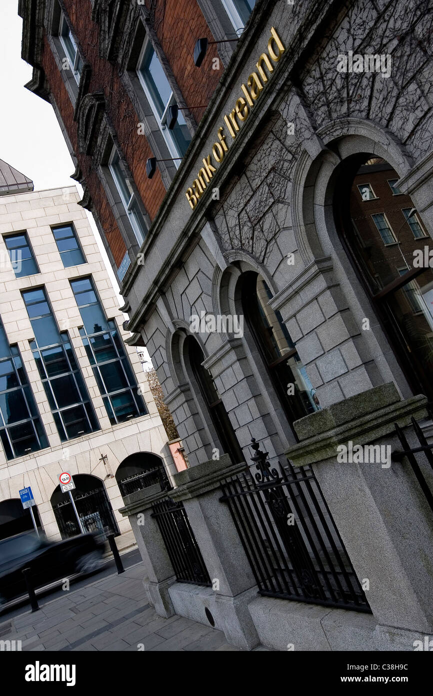 External photograph a Bank of Ireland building situated in Dublin. - Stock Image