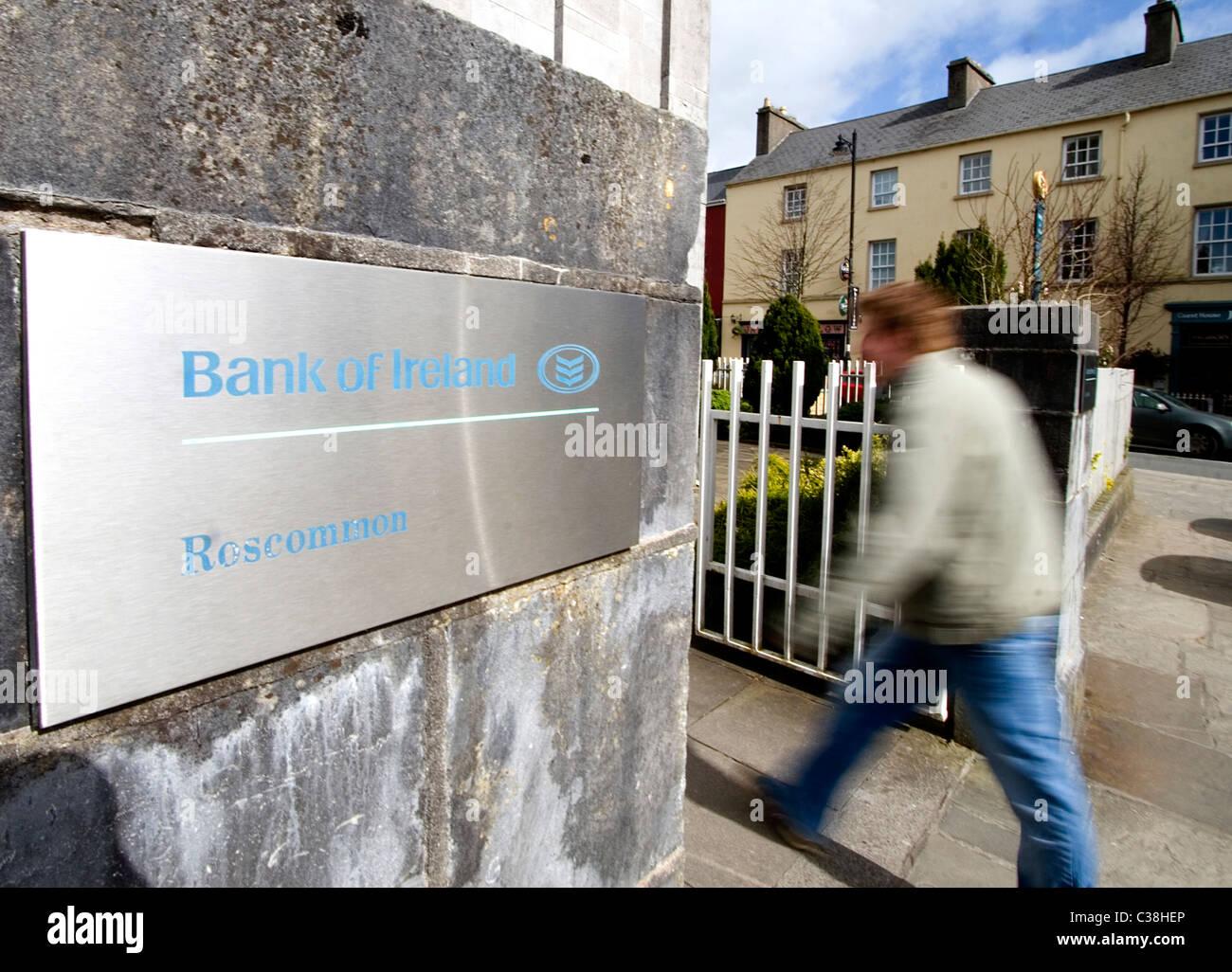 A Bank of Ireland Branch, Roscommon, West of Ireland. - Stock Image