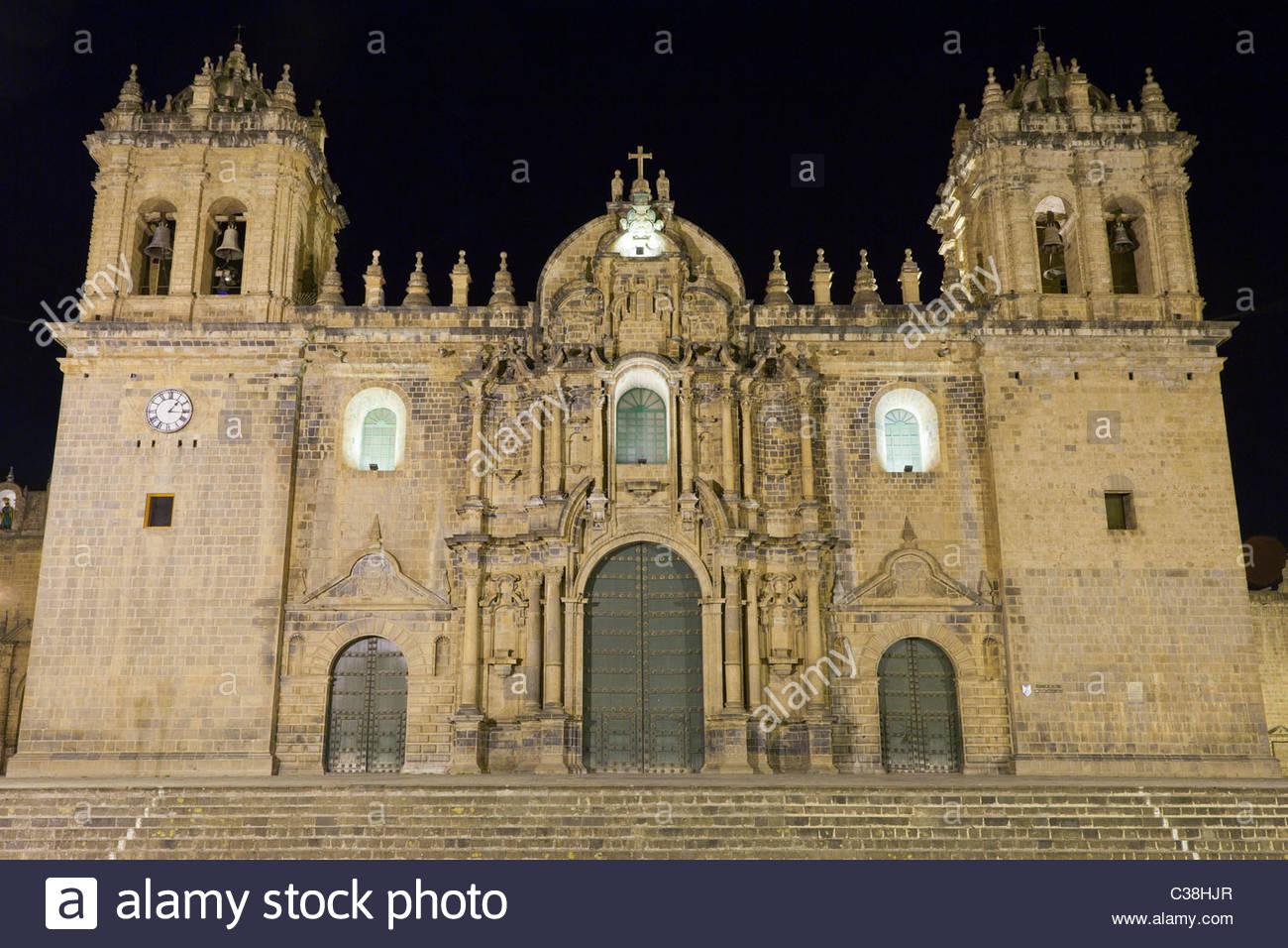 Cusco Cathedral on Plaza de Armas at Night, Cusco, Peru. Stock Photo