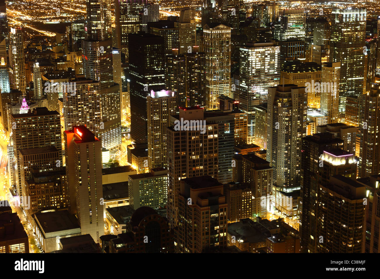 View to Downtown Chicago / USA from high above at night - Stock Image