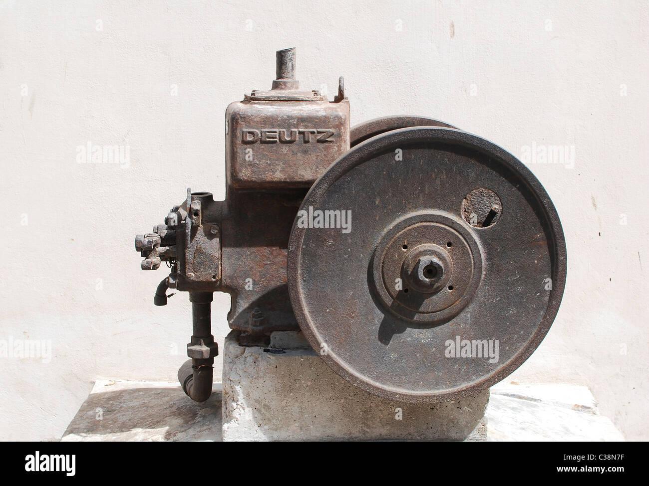 Industrial kerosene powered water pump from 1906 photographed in Israel - Stock Image