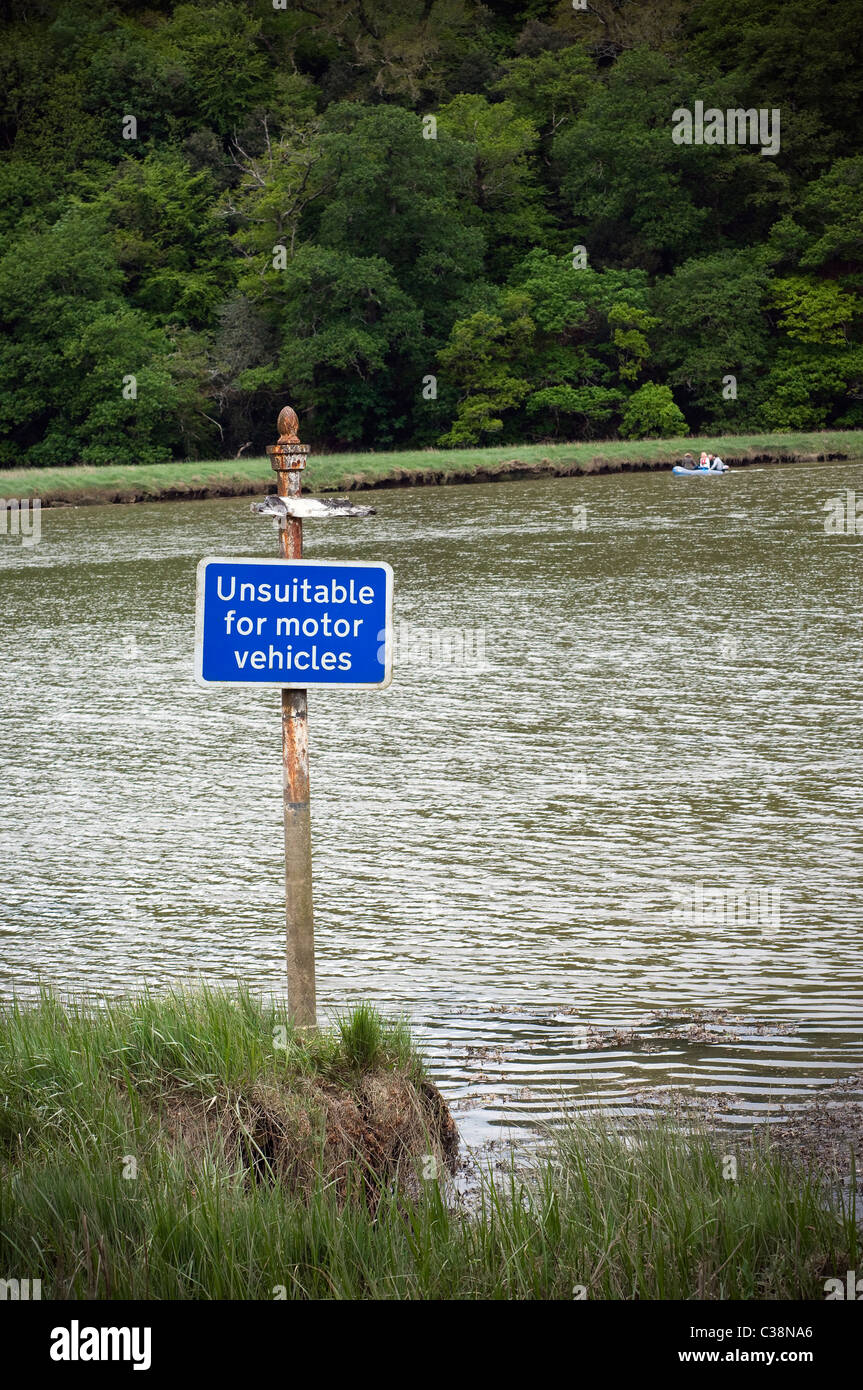 Unsuitable for motors sign with river in the distance, sign, unsuitable - Stock Image