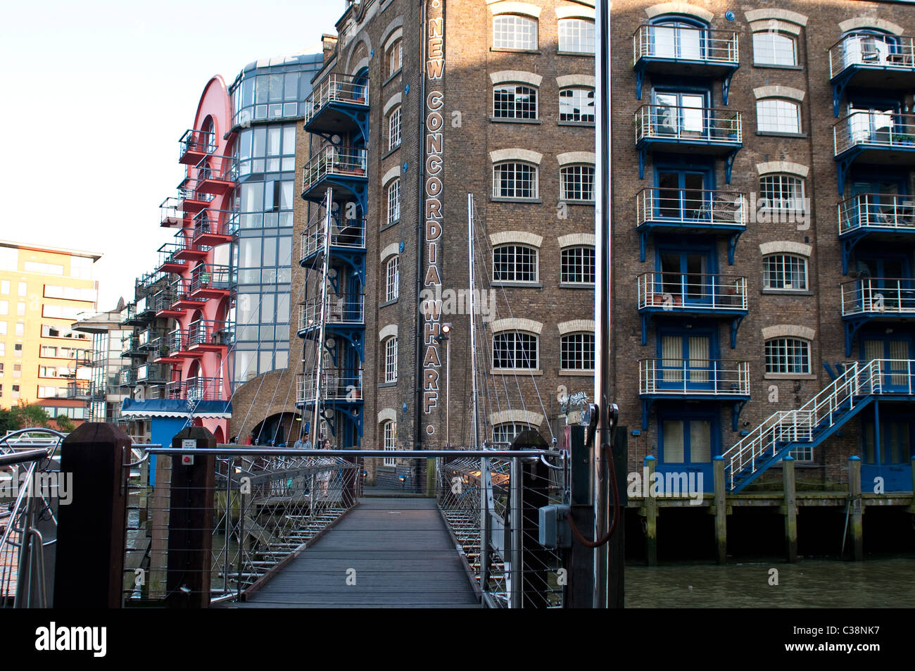 New bridge at St Saviour's Dock, Neckinger, SE1, London, UK - Stock Image