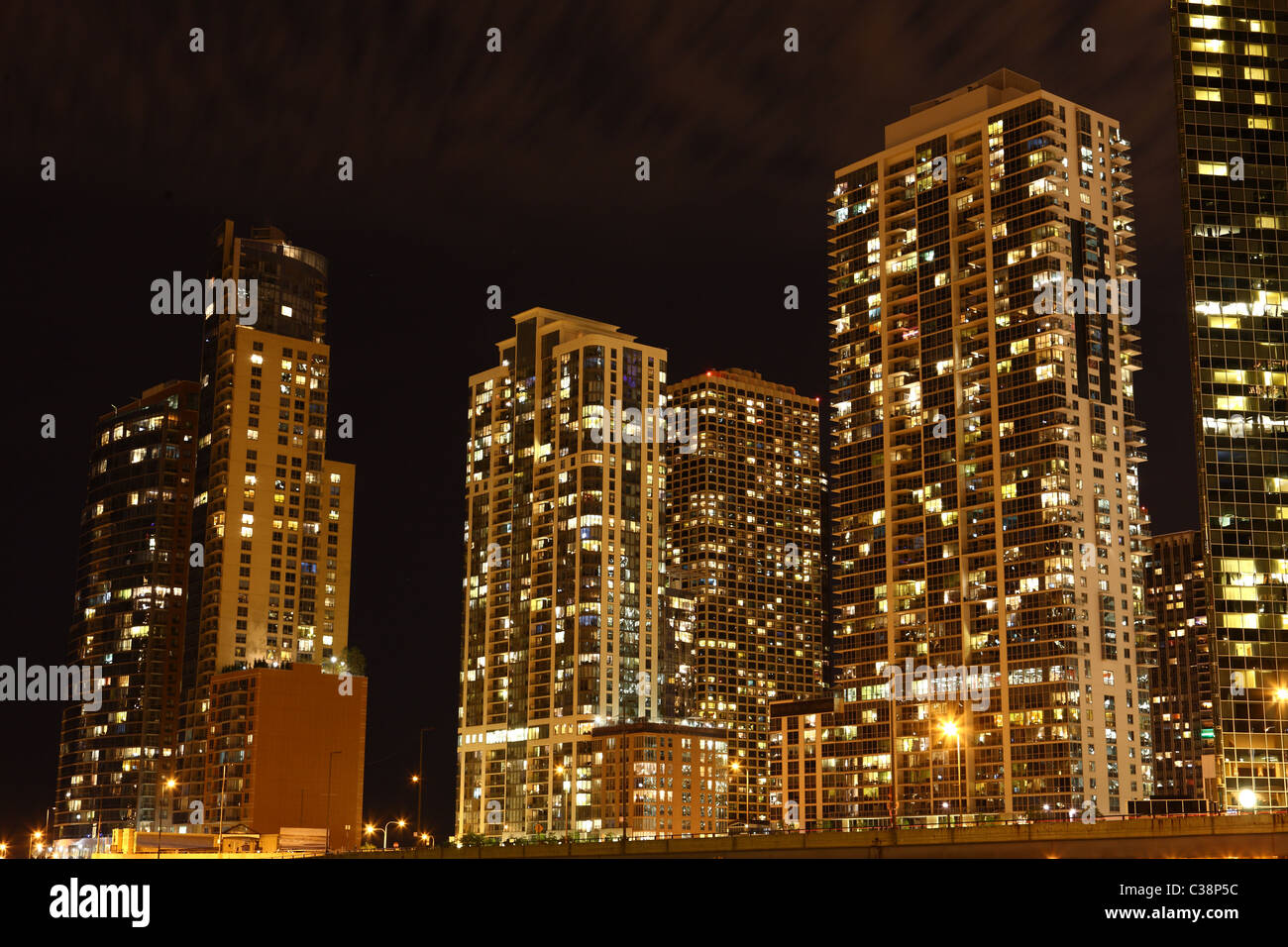 Downtown Chicago / USA at night - Stock Image