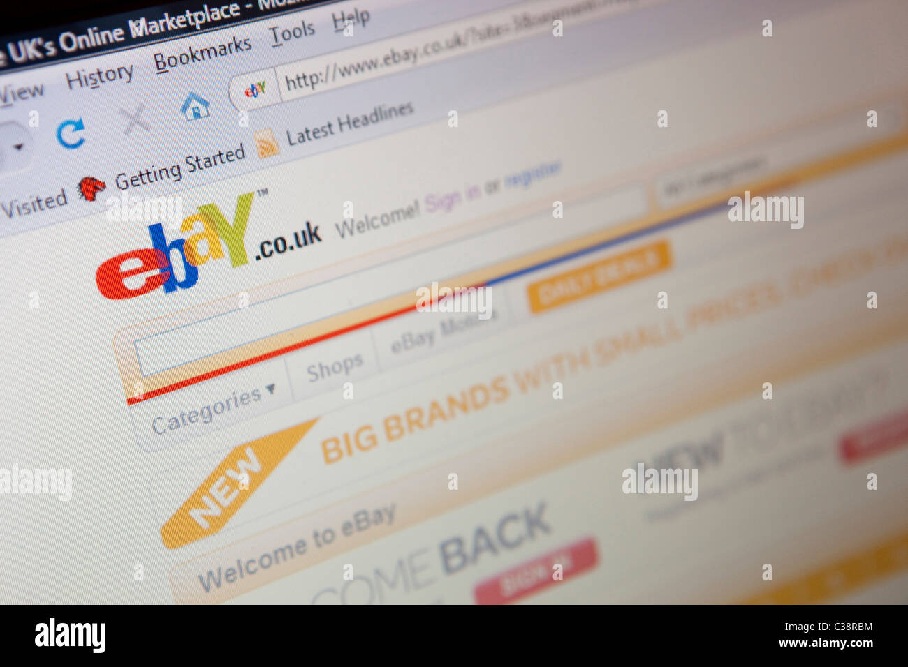 Illustrative image of the Ebay website. - Stock Image