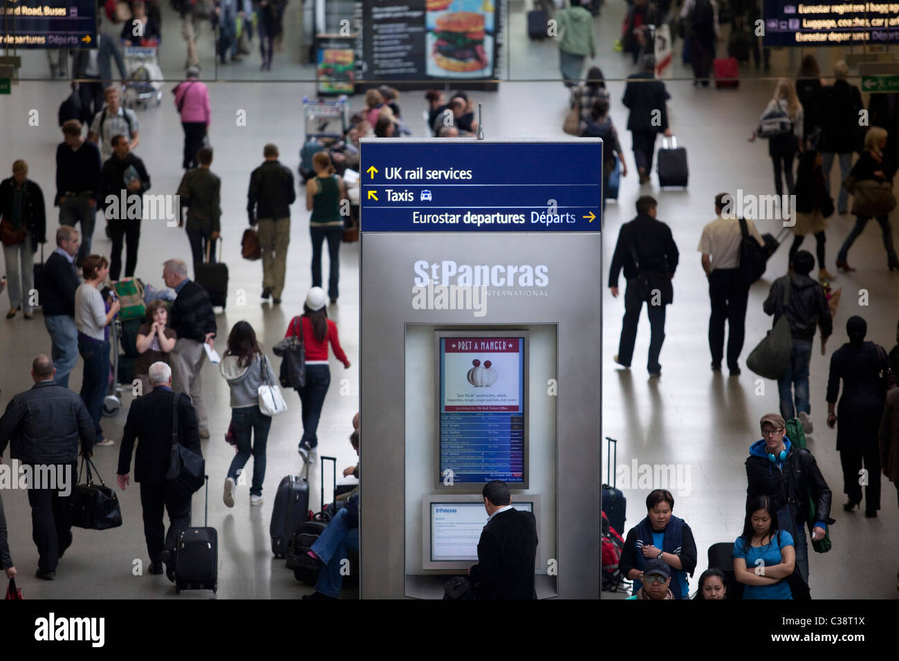 Eurostar services at King's Cross St Pancras International station - Stock Image