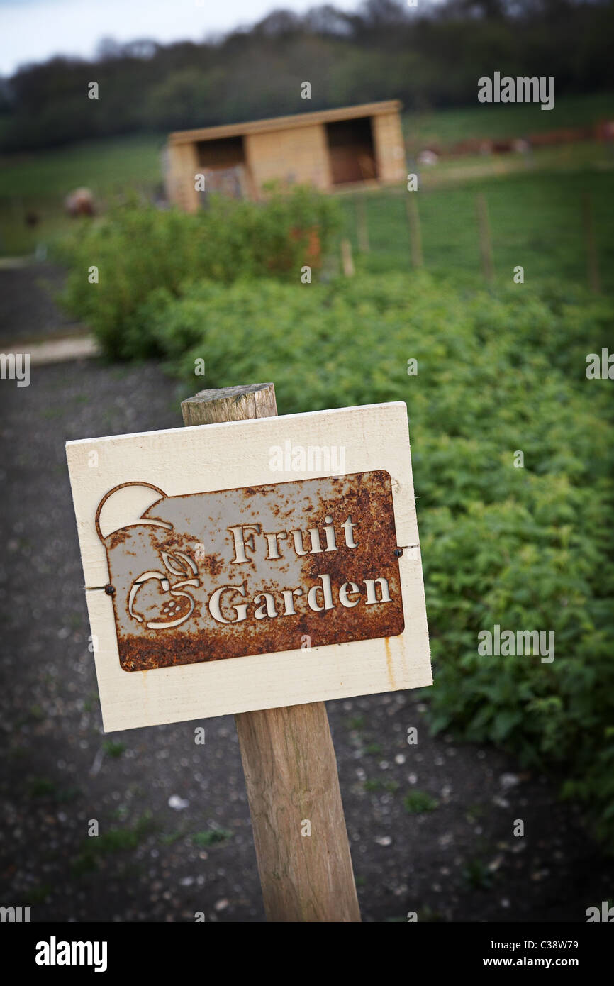 Fruit garden sign at Hugh fearnley whittingstall's park farm,river cottage HQ near Axminster. - Stock Image