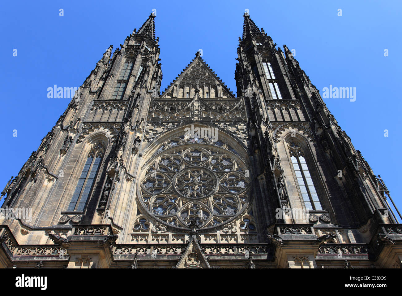 Part of Prague cathedral with cloudless sky - Stock Image