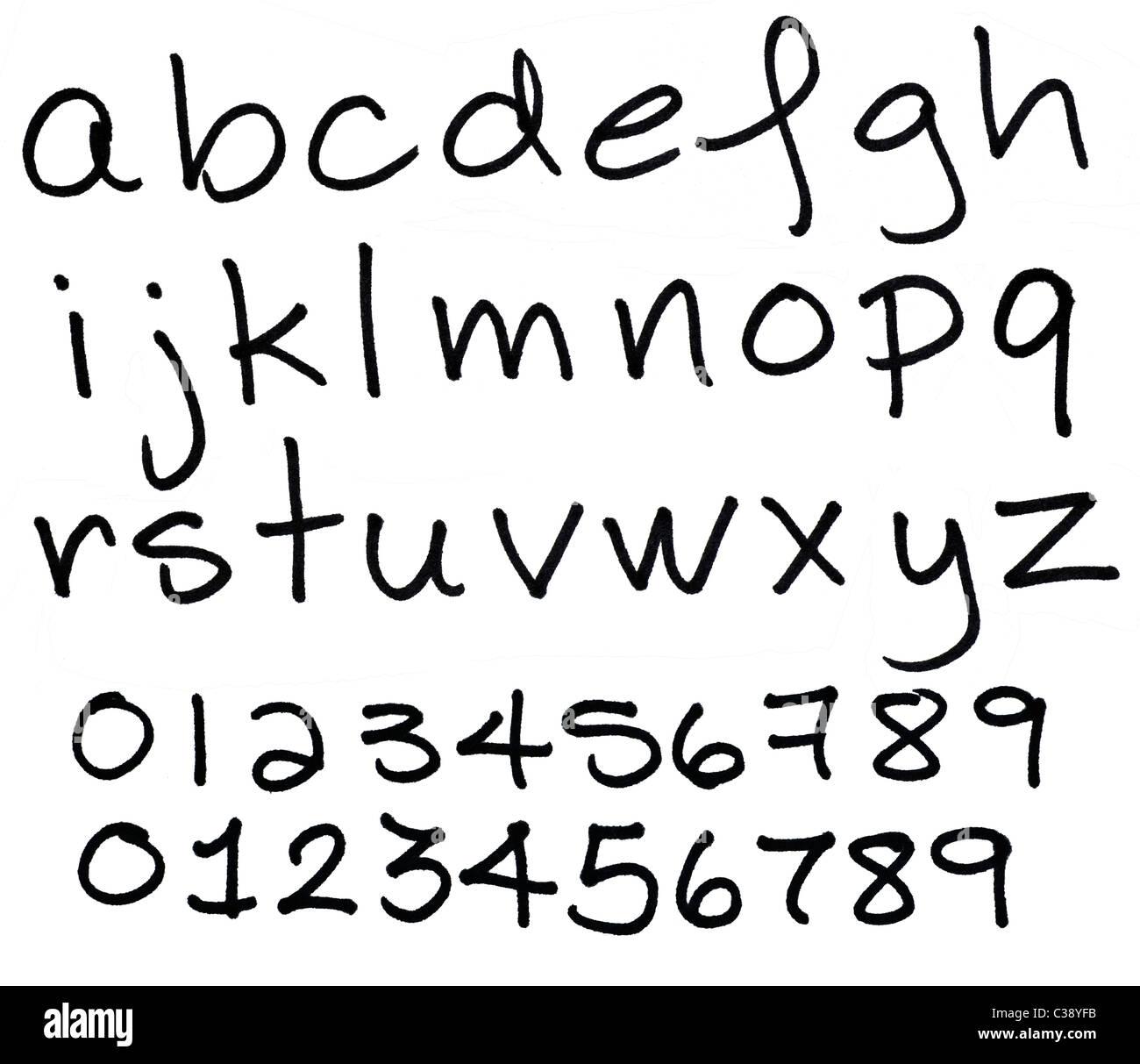 Alphabet black ink letters - Stock Image