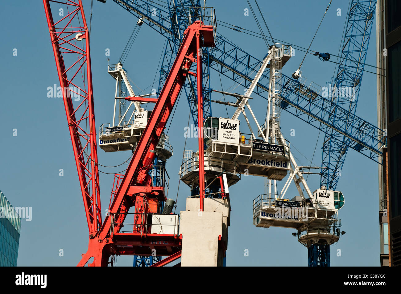Cranes at The Pinnacle building site, City of London, UK - Stock Image