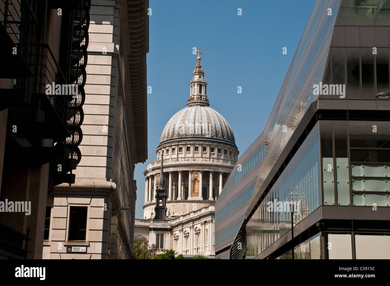 St Paul's Cathedral and One New Change building, from Watling Street, City of London, UK - Stock Image