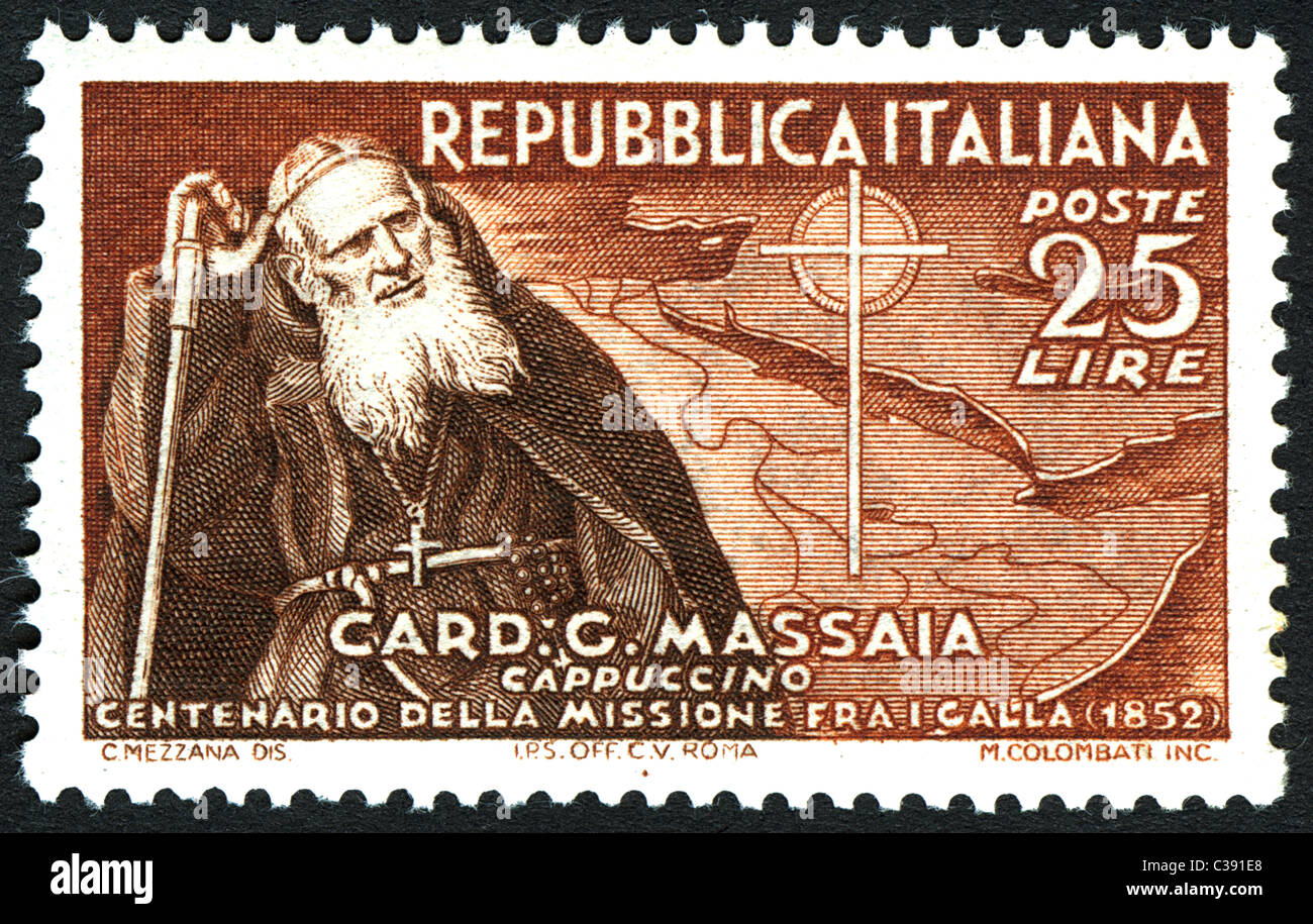 1952, issue of the Italian post office to celebrate the centenary of the mission in Africa by Cardinal Guglielmo Stock Photo