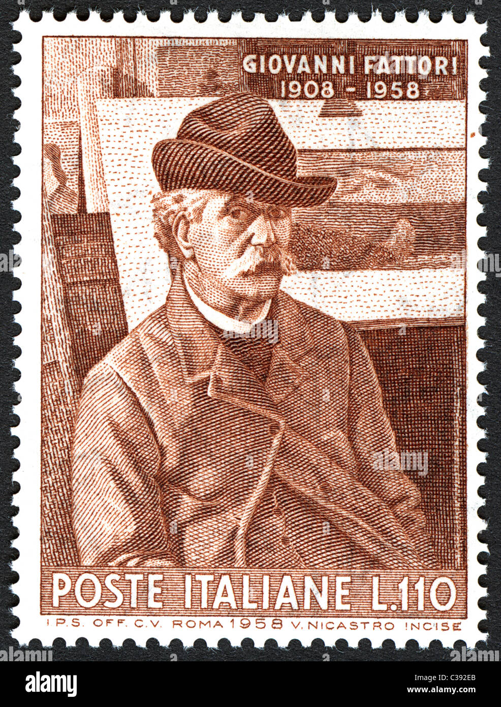 Issue of Italian post office to celebrate the fiftieth anniversary of the death of the painter Giovanni Fattori. - Stock Image