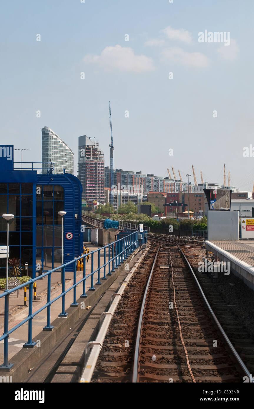 Railway tracks from DLR, London, UK - Stock Image