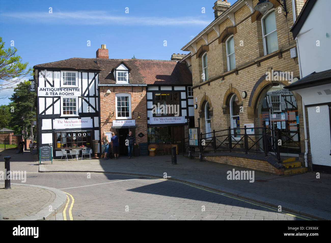 Leominster Herefordshire England UK The Old Merchants House Antique centre and tea shop in Corn Square - Stock Image
