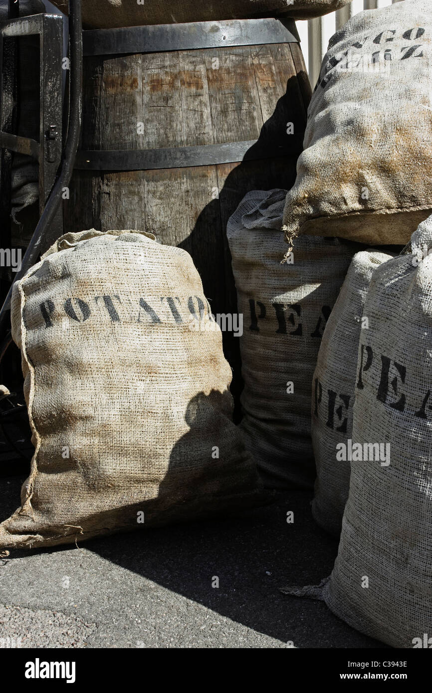 Provision sacks and barrels forming part of the SS Great Britain exhibition on the docks at Bristol - Stock Image