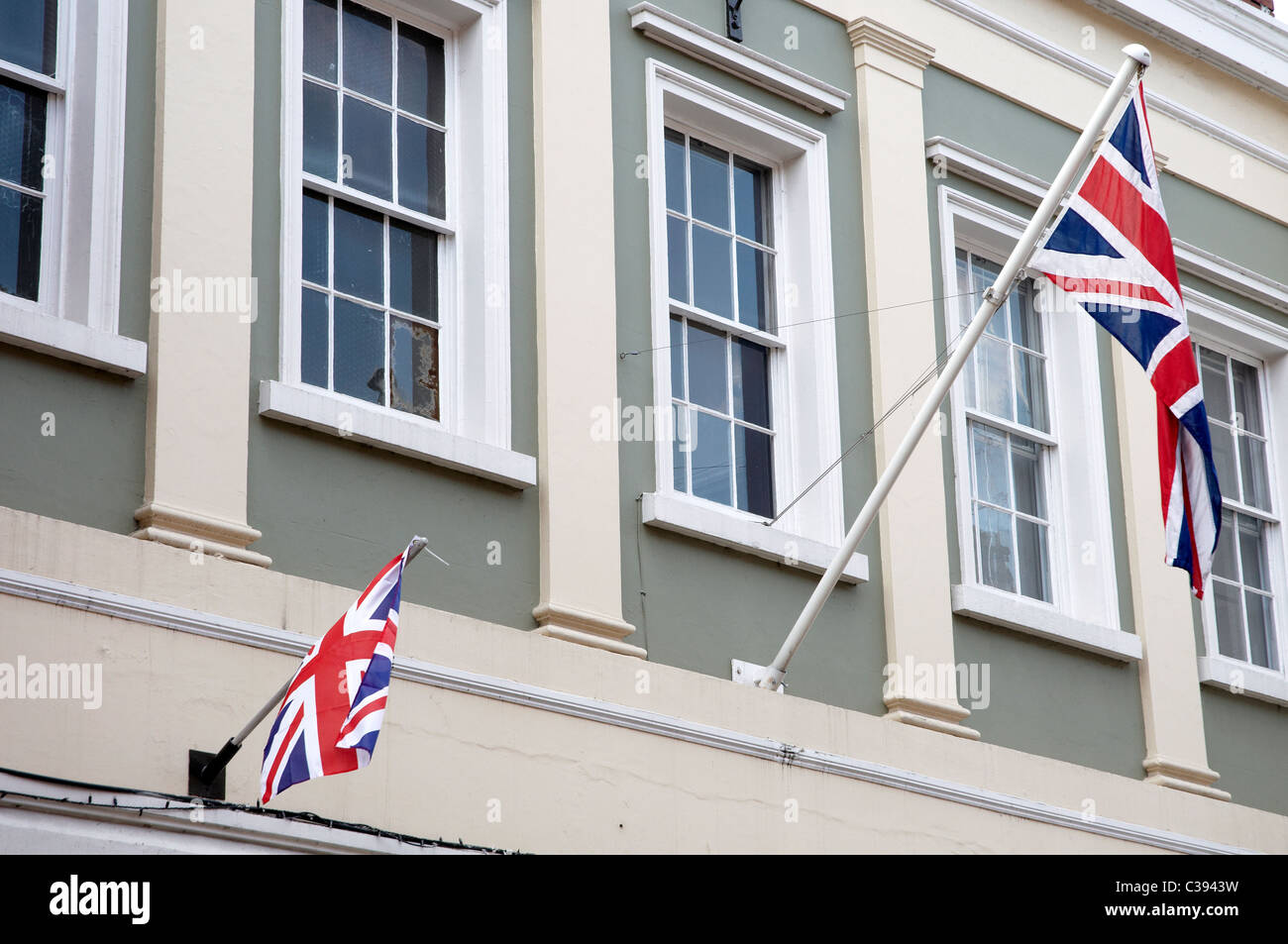 Union flags (Union jacks) flying in Upton-upon-Severn, Worcestershire, England to celebrate the royal wedding - Stock Image