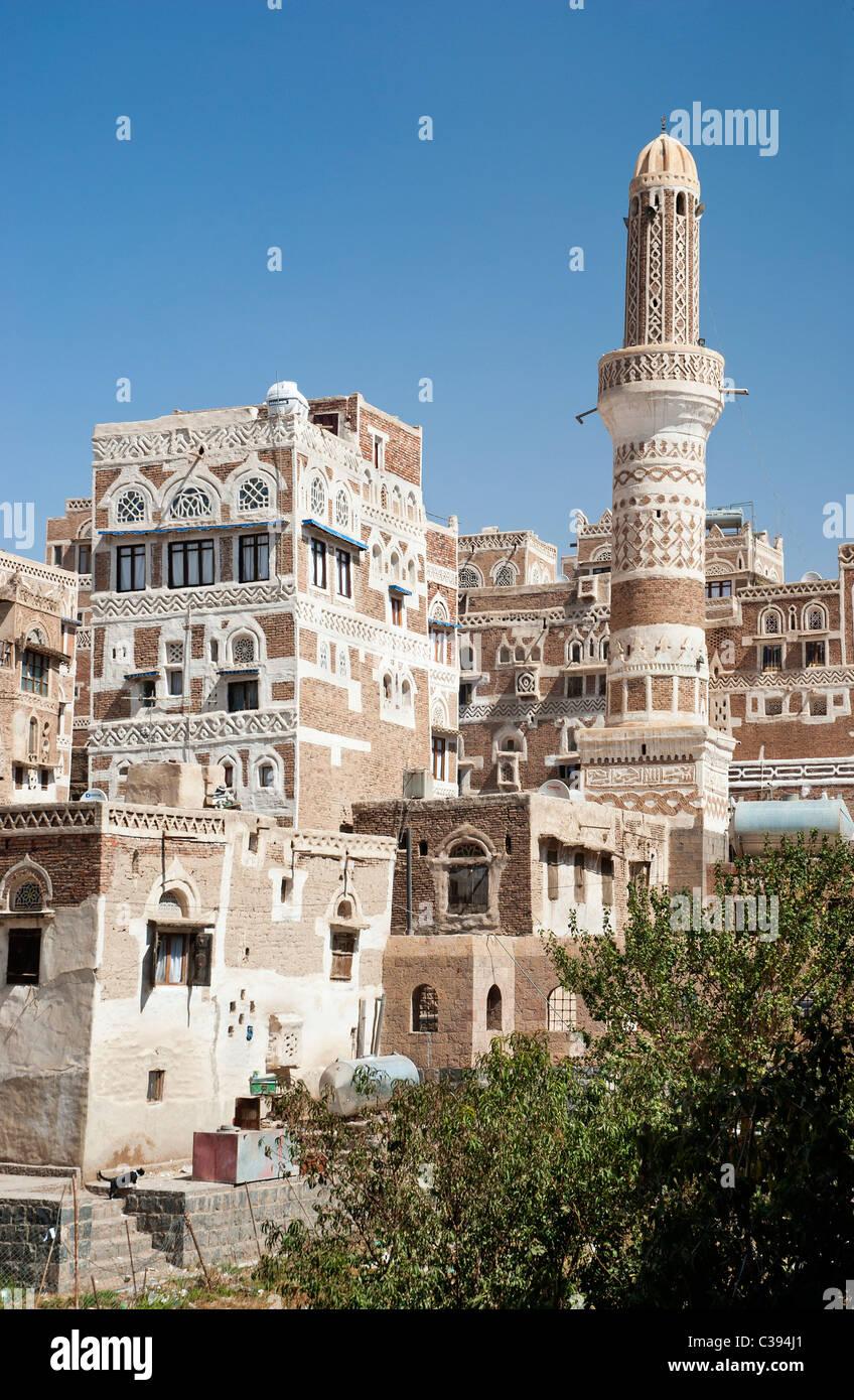 sanaa old town, yemen - traditional yemeni architecture - Stock Image