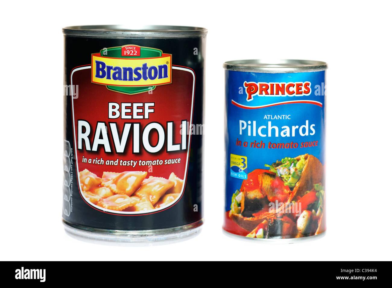 395 and 155 gram tins of Branston Ravioli and Princes Atlantic Pilchards - Stock Image