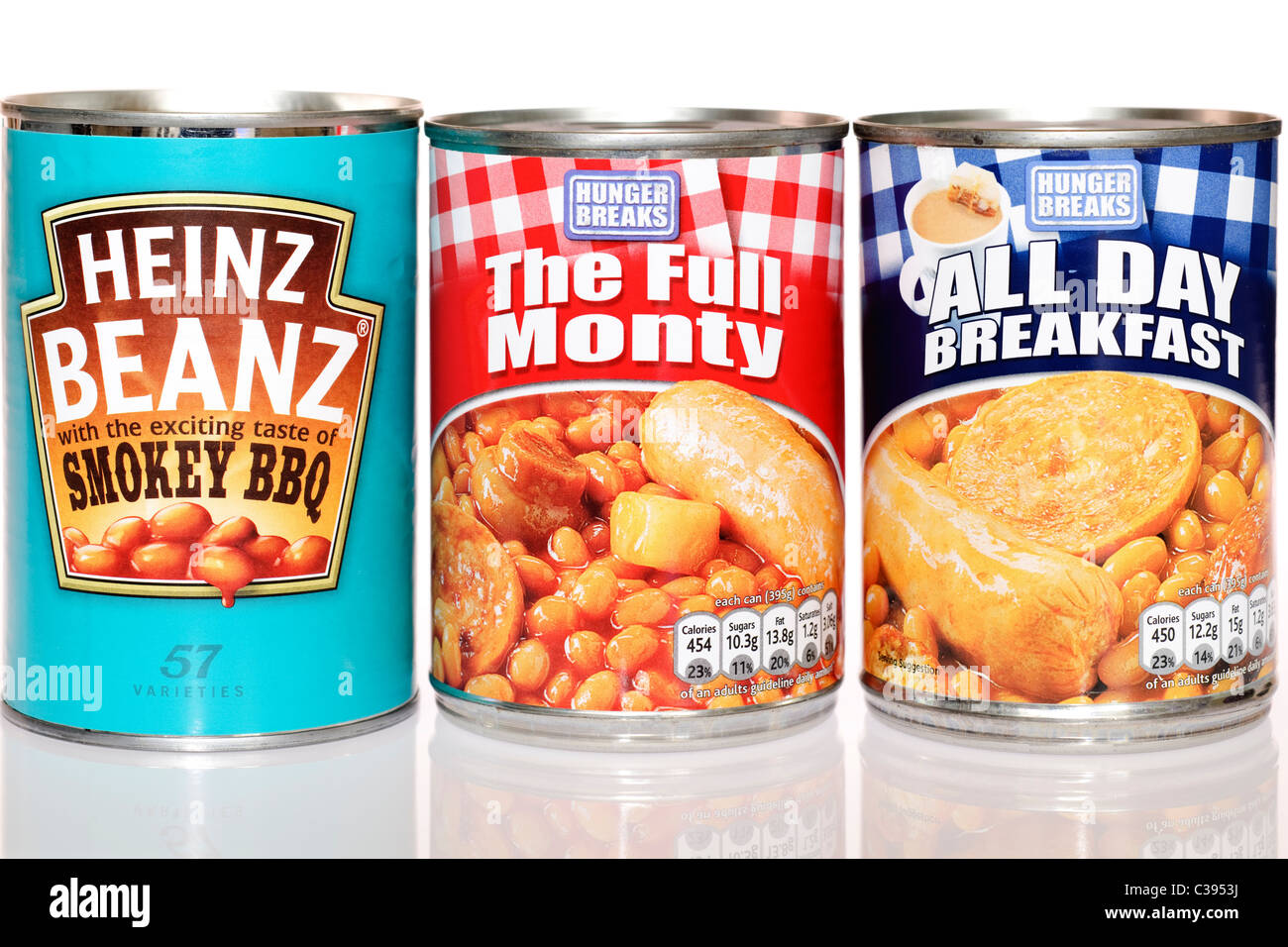 Three cans of beans meals - Stock Image