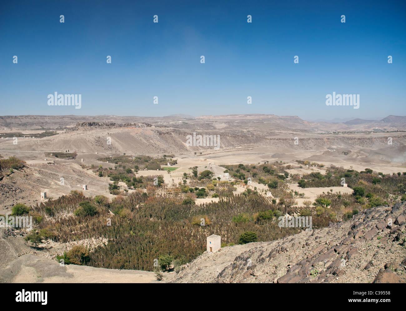 arid yemen landscape near sanaa with khat plantations - Stock Image