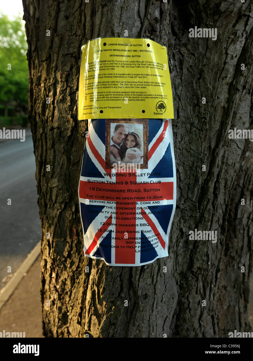 Notice of Intended Royal Wedding Street Party and the Council Permit - Stock Image