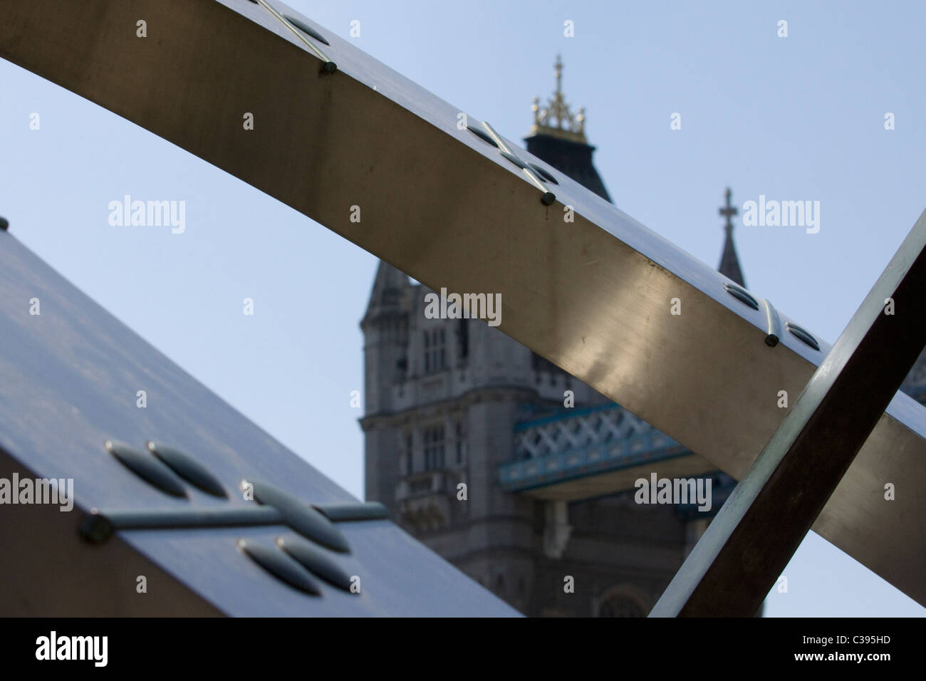 Abstract view of St Katharine's Dock Sun Dial London - Stock Image