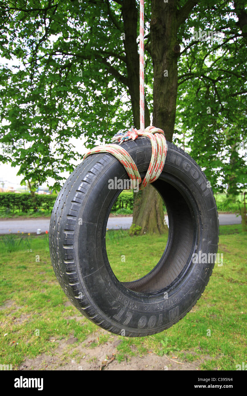 Old fashioned rope tyre swing hanging from