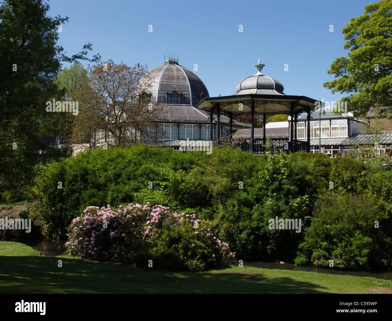 Buxton pavilion and bandstand  Derbyshire Peak District England - Stock Image