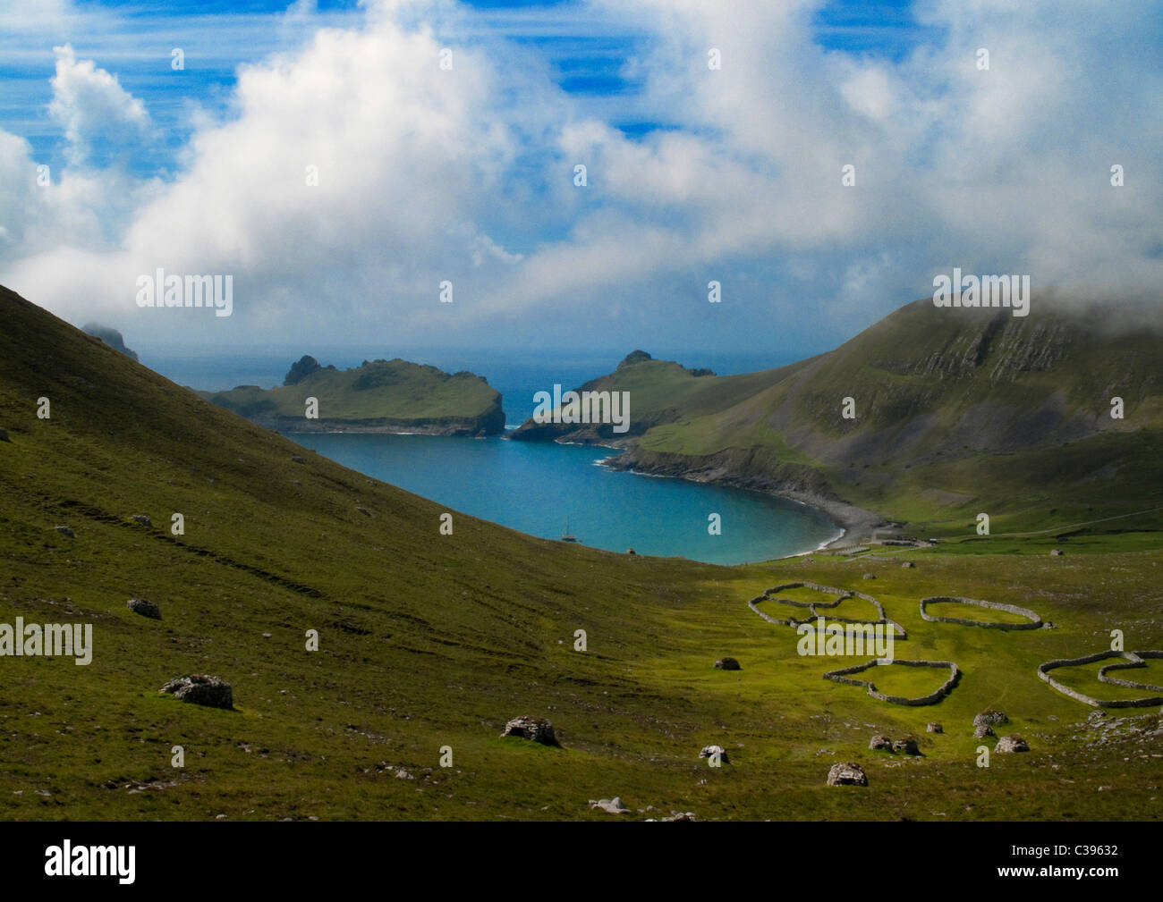 Looking down on Village Bay, Hirta in the Scottish St Kilda archipelago. - Stock Image