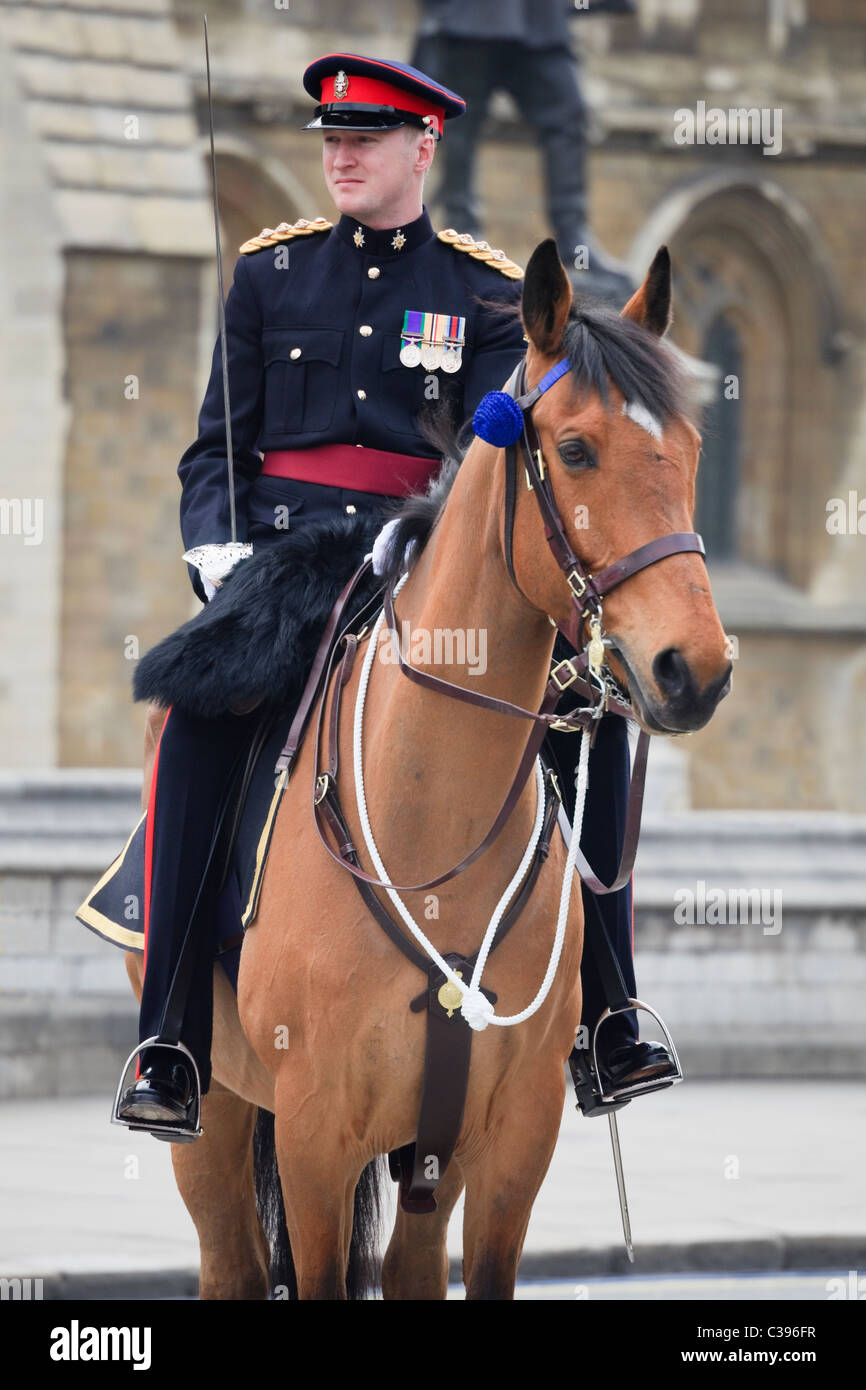 PWRR Army Officer Captain riding a horse on duty guarding the route of the royal wedding in 2011. London, England, - Stock Image