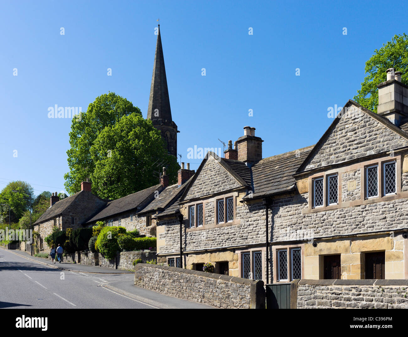 The steeple of All Saints Parish Church from South Church Street, Bakewell, The Peak District, Derbyshire, UK - Stock Image