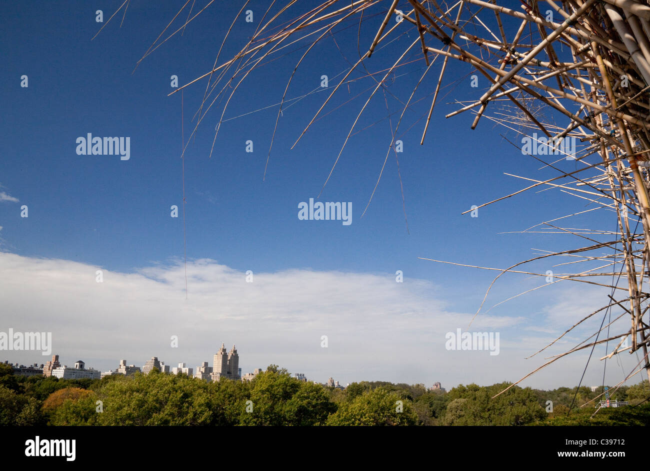artistic bamboo installation on roof of Metropolitan Museum of New York USA - Stock Image