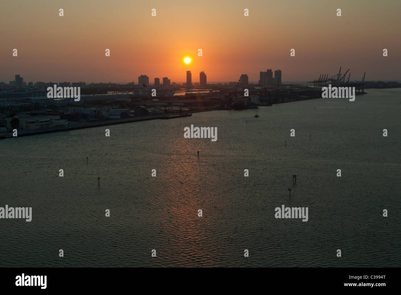 Sunrise in Miami Beach, seen from Downtown Miami. Stock Photo