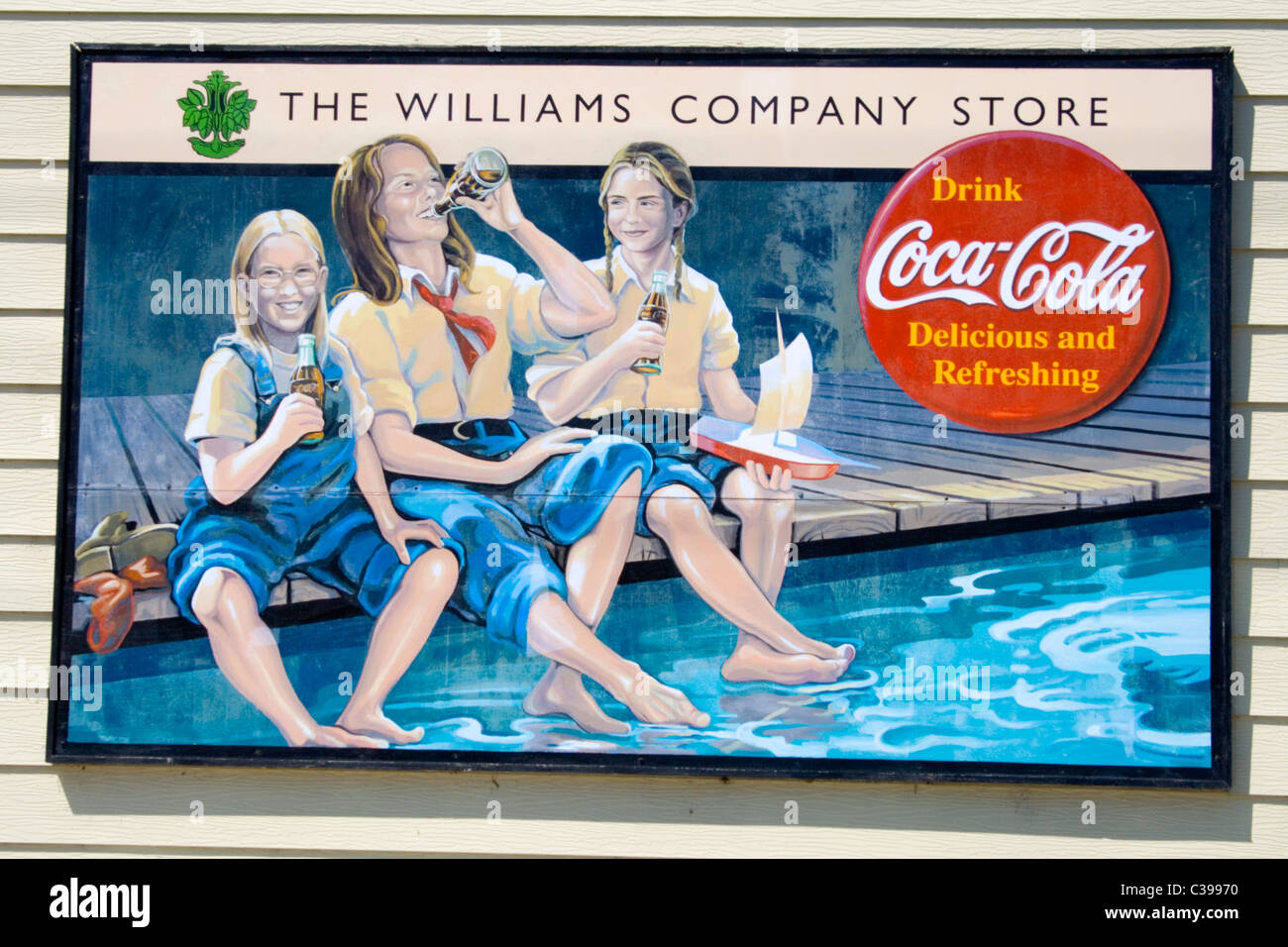 Old time sign on the Williams Company General Store advertising Coca-Cola. Otter Tail Minnesota MN USA - Stock Image