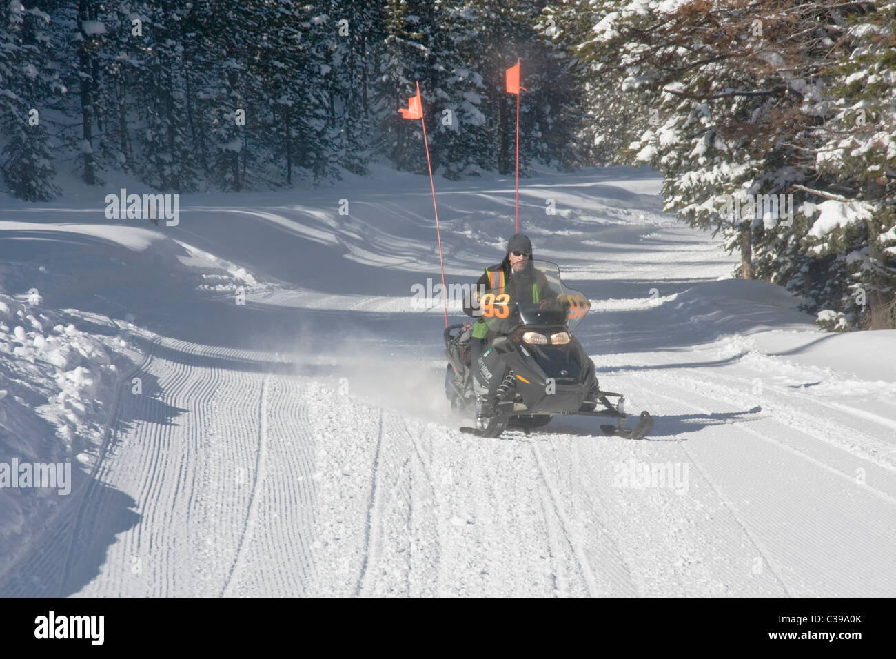 Snowmobile, Winter Park Resort, Winter Park, Colorado. Stock Photo