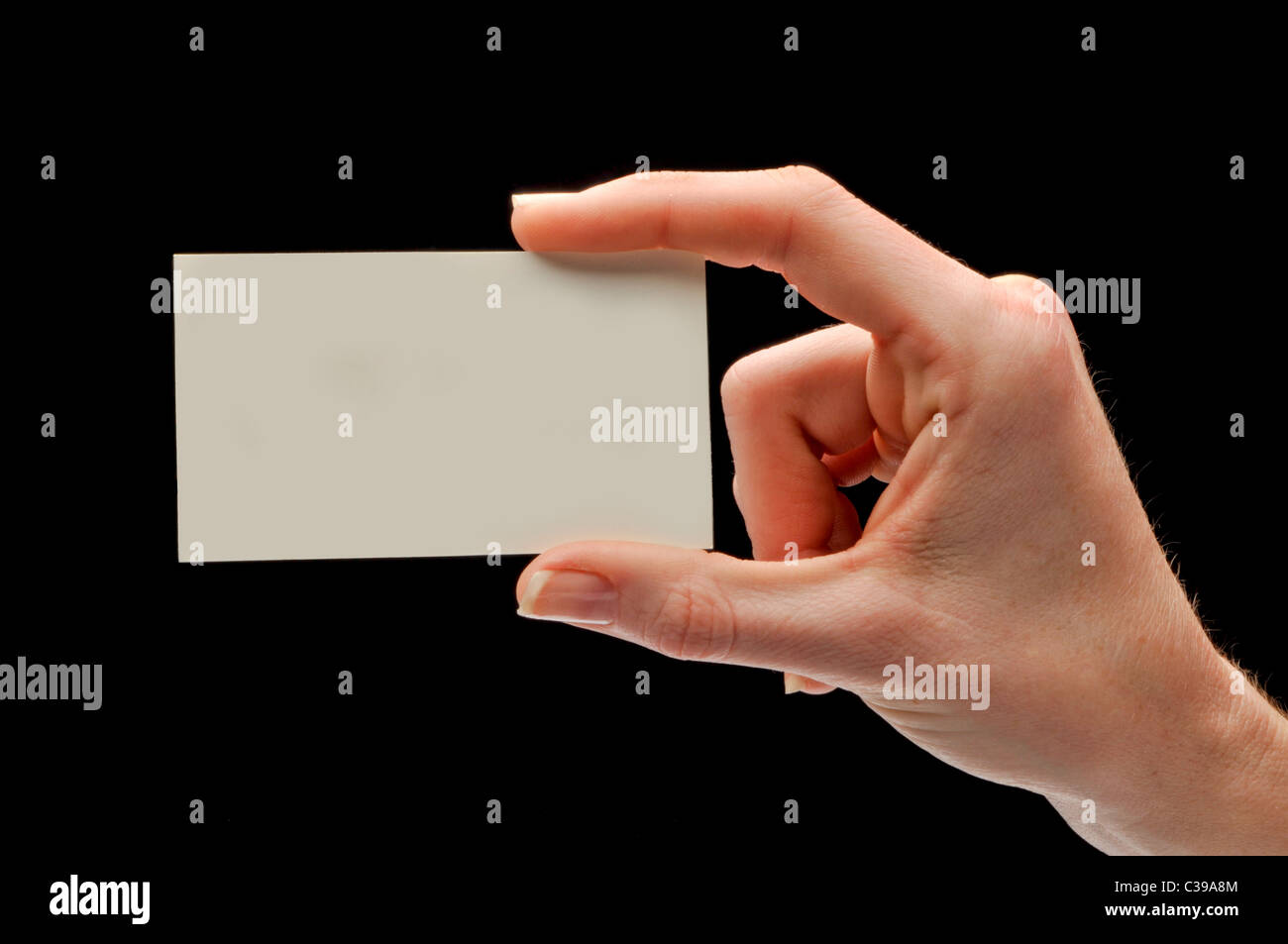 hand and fingers holding blank business card Stock Photo: 36470356 ...
