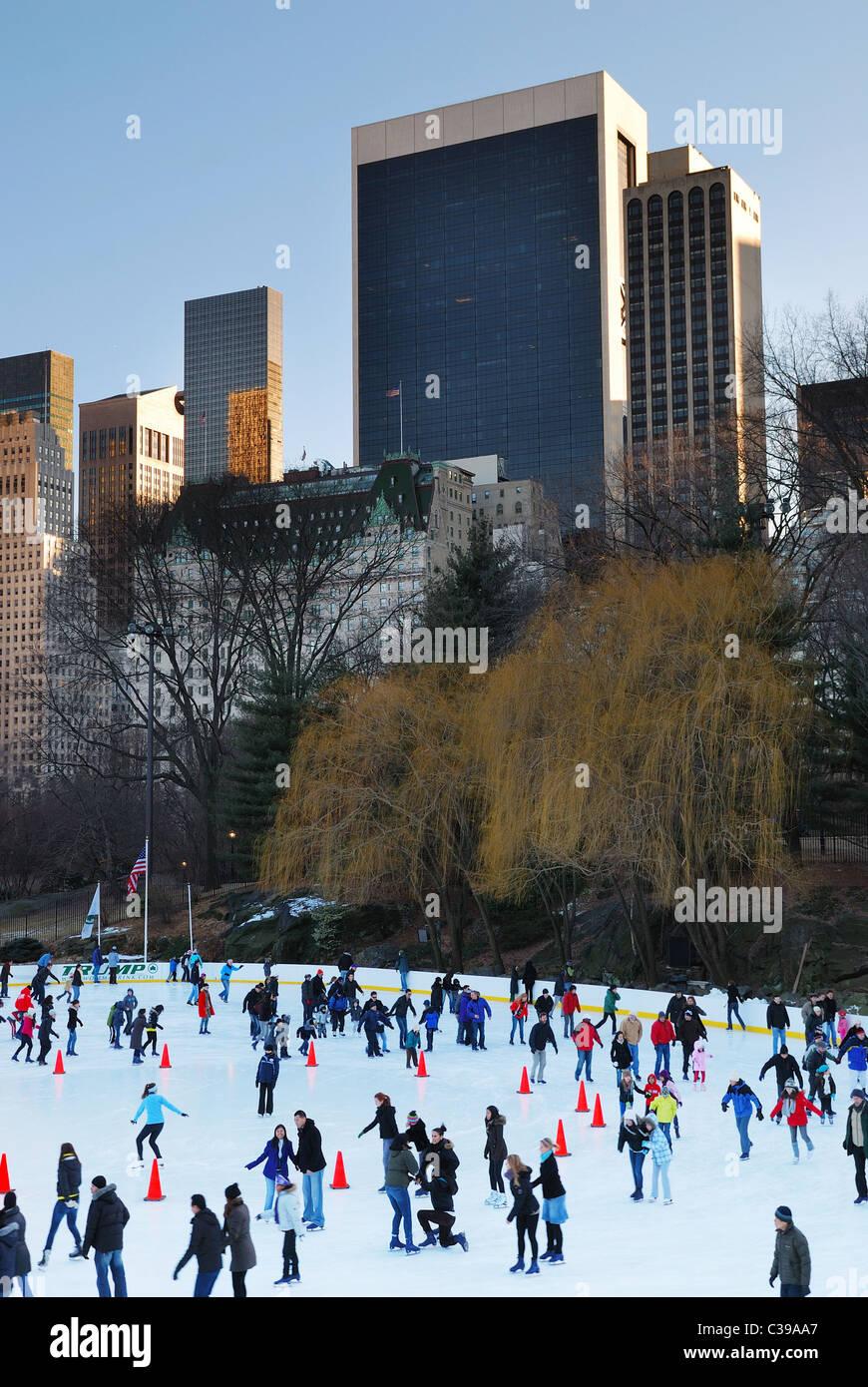 people skate in central park manhattan in new york city Stock Photo