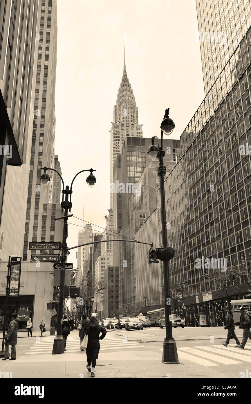 42nd Street is a major crosstown street and is featured with some of the most important buildings in Manhattan. - Stock Image