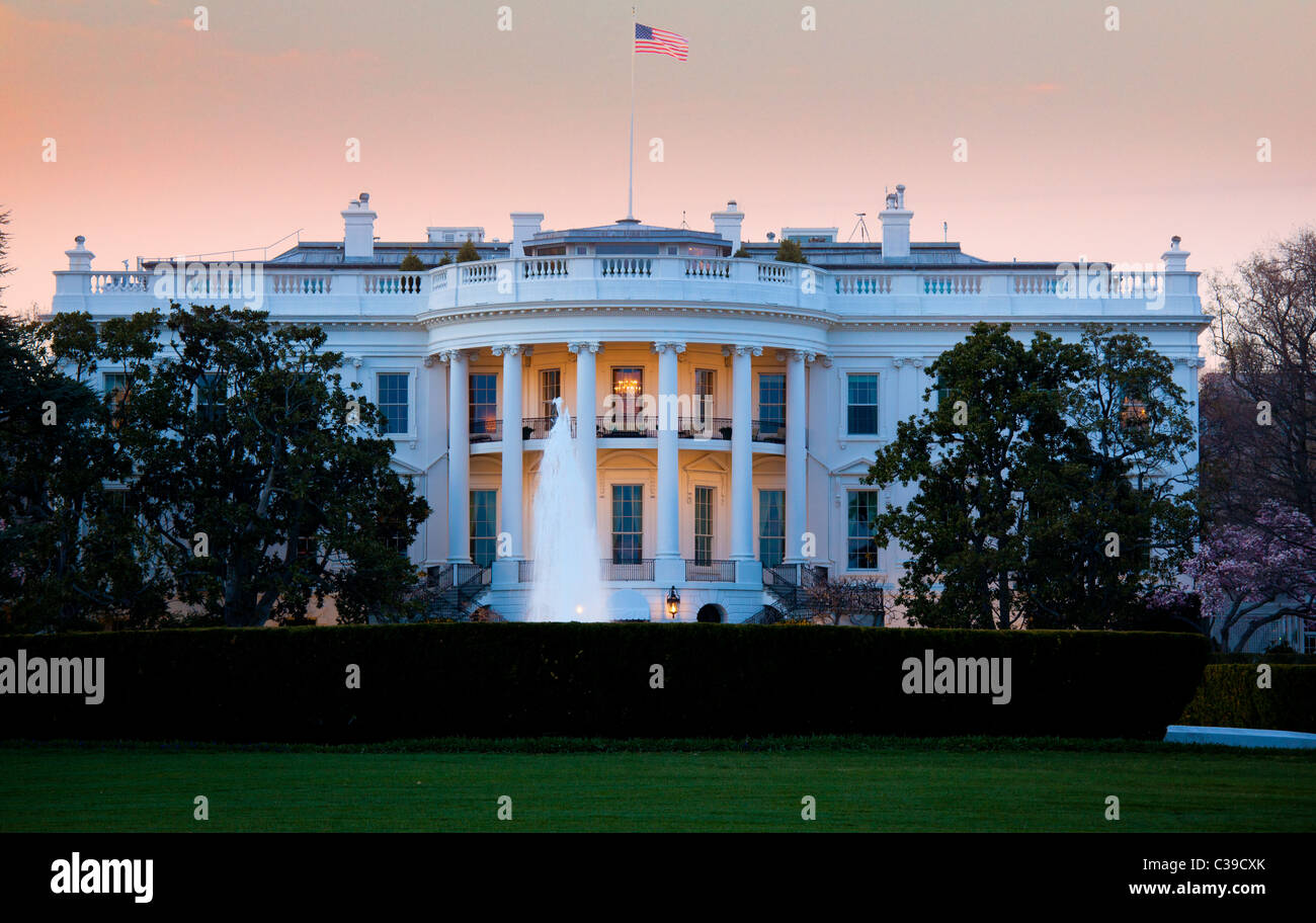 The US presidential residence at 1600 Pennsylvania Avenue in Washington, DC - Stock Image