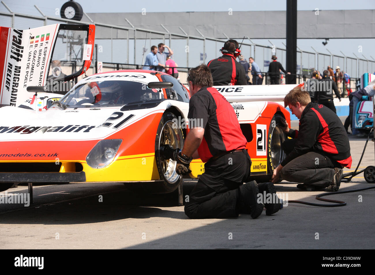 Group C sports Car on the pits on jacks Stock Photo