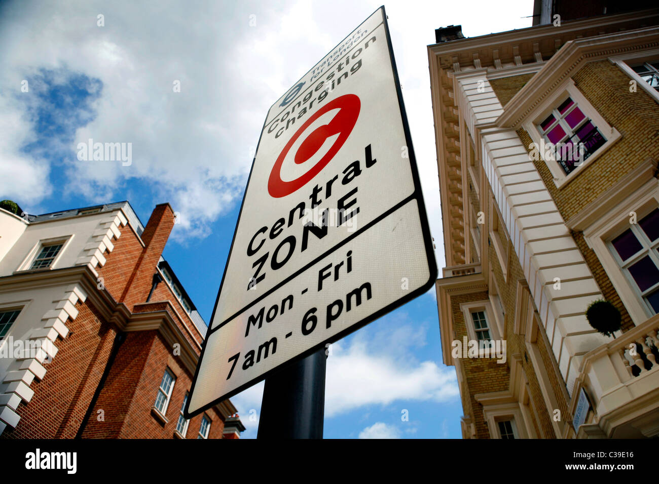 A Congestion Zone sign in Westminster, London - Stock Image